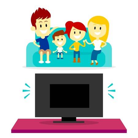 Familia viendo tv juntos Ilustración de vector