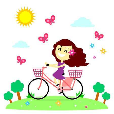 Girl Enjoy Riding Bicycle With The Butterflies