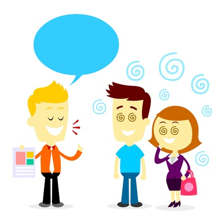 persuading: Man Trying to Sell His Product By Persuading People