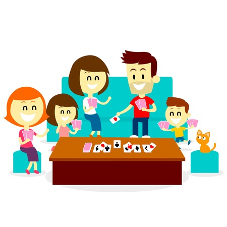 A Family enjoying quality time with kids by Playing Family Fun Card Games (in Flat Cartoon Style)