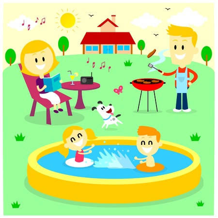Family Fun Time at The Backyard House : Mom Reading Magazine, Dad  Barbecuing while listening to the radio, and Kids Playing in Inflatable Bath Tub, and The Dog Playing with The Butterfly (in Flat Cartoon Style)
