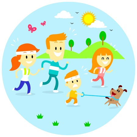 family with dog: A Family enjoying quality time by Jogging Together in the Morning (in Flat Cartoon Style) Illustration