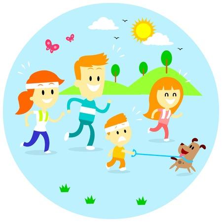 perro familia: Un tiempo de calidad disfrutando de Familia por trotar juntos por la mañana (en la plana del estilo de dibujos animados) Vectores