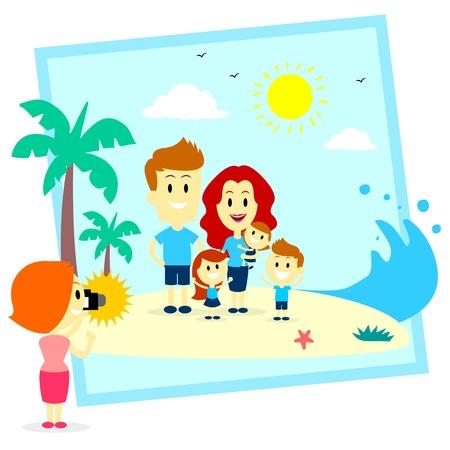 Family Fun Photo Shoot En La Playa Foto de archivo - 32817266
