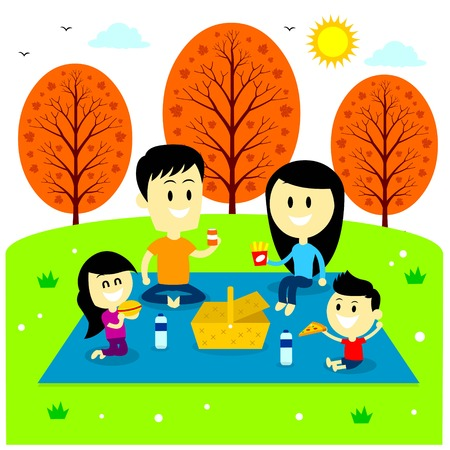 A Family enjoying picnic at the park bringing their favourite meals (in Flat Cartoon Style) 矢量图像
