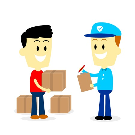 Postman asking for signature to a man after delivering 3 parcels to him  (in Flat Cartoon Style)