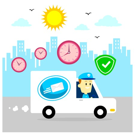 safely: Postman Driving Mail Van to Help Deliver Packages, Safely and Right OnTime  (in Flat Cartoon Style) Illustration