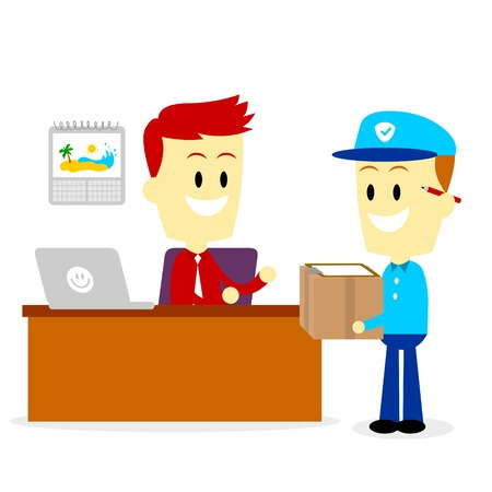 postman: Postman Delivering A Package to A Businessman into his Office (in Flat Cartoon Style)