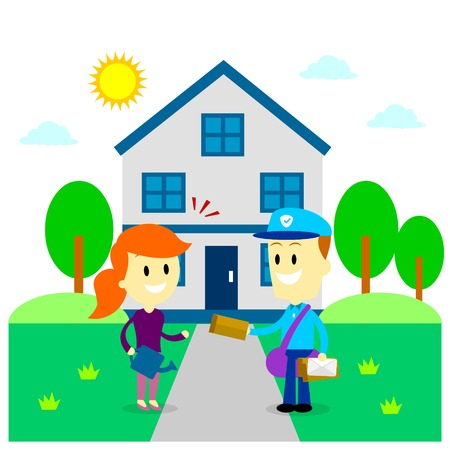 postman: Postman Delivering A Letter to A Woman in Front of Her House (in Flat Cartoon Style)