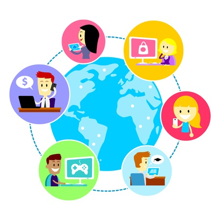 People all over the world using internet for many purposes such as browsing, gaming, business, shopping, learning, messaging, etc  (in Flat Cartoon Style)