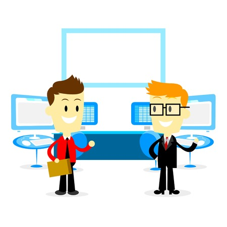 Man Introducing Office Studio to a New Employee (in Flat Cartoon Style) Illustration