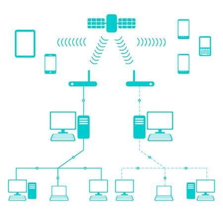 Network Flow Diagram (in Flat Cartoon Style)
