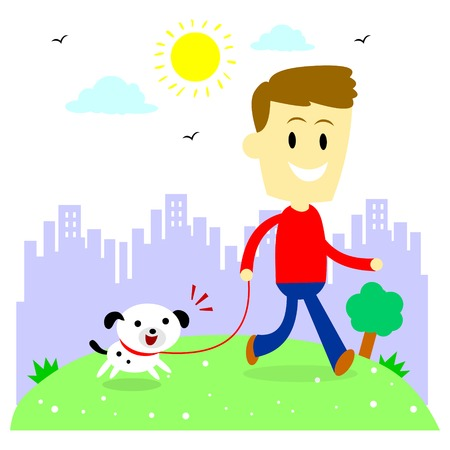 dog park: A man taking his puppy for a walk at park (in Flat Cartoon Style)