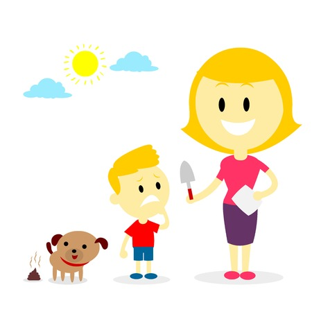 feces: Mom teach her son to pick up his doggy poop (in Flat Cartoon Style)