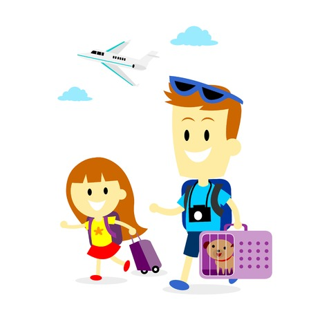 bringing: Dad and his Daughter bringing their puppy dog travelling with them (in Flat Cartoon Style)