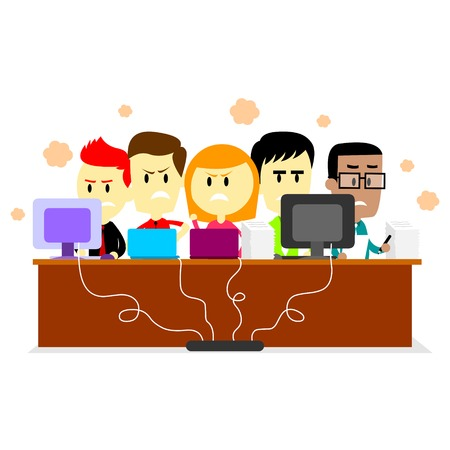 Employees feeling Uncomfortable Working in a Small & Crowded Room (in Flat Cartoon Style)