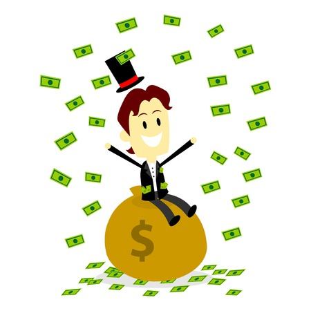 A Rich Man in suit Sitting On A bag of Money and Make It Rain His Money (in Flat Cartoon Style)