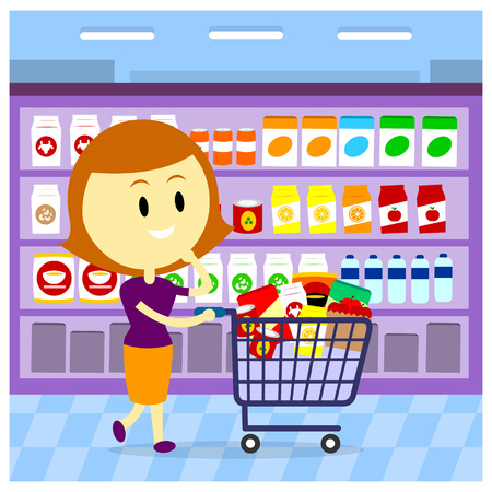woman drinking milk: A WomanMom Grocery Shopping while Pushing Shopping Cart Full of Groceries (in Flat Cartoon Style) Illustration