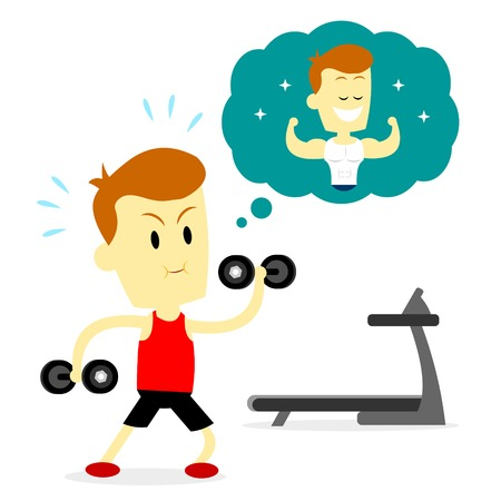 A man doing a workout routine/ exercise to make his body shape look good and also healthy inside (in Flat Cartoon Style)