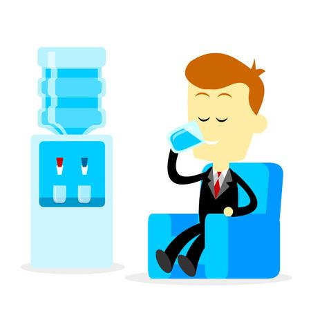 to sit: Un hombre de negocios que bebe un vaso de agua dulce mineral mientras está sentado en el sofá, lo que es un hábito saludable (en el estilo de dibujos animados plana)