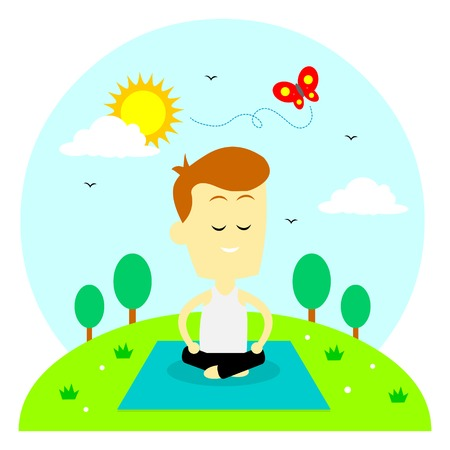A man doing yoga routine to recharge his energy and avoid/reduce stress (in Flat Cartoon Style)