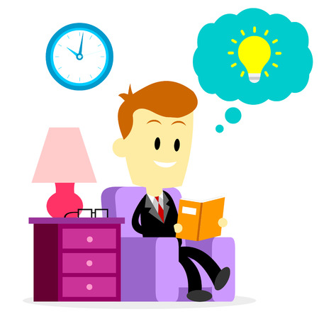 spare: A Businessman spending his spare time to sit and read a book to improve his knowledge and skill by learning something new (in Flat Cartoon Style) Illustration