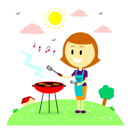 A Happy Woman/Mom  Humming while Barbecuing Steaks in the Backyard House (in Flat Cartoon Style) Illustration