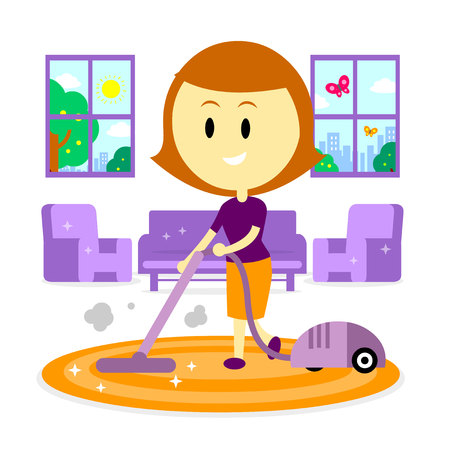 A Woman/ Mom  Cleaning Living Room of her House Using Vacuum Cleaner in the Springtime (in Flat Cartoon Style) Illustration