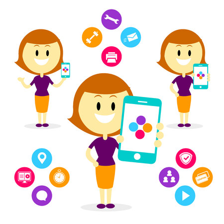 A Woman/Mom Showing/ Promoting many features of a Mobile App