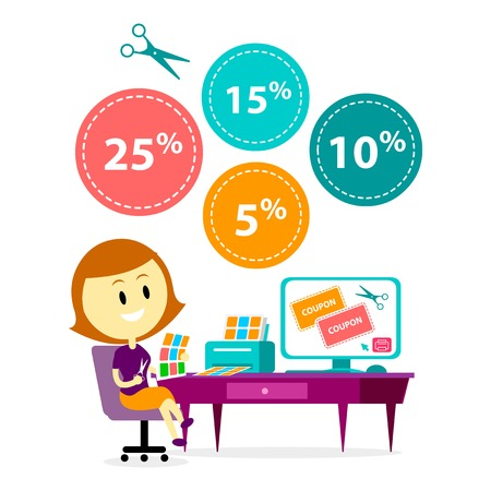 A Smart Woman/Mom Printing Some Printable Coupons from Online Store then Cutting them to Shop and Save Money (in Flat Cartoon Style)