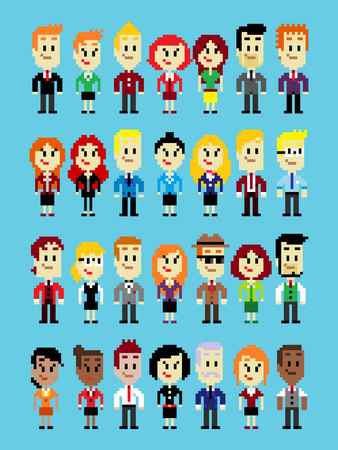 trouser: Businessperson characters (Man & Woman) wearing variation of colorful suit in Vector Pixel Art Style
