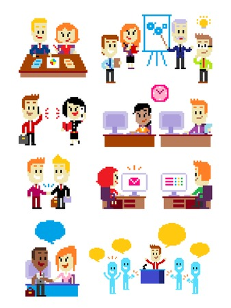 9 Cliparts about Office People: Analyzing Business Chart, Meeting & Discussing New Ideas, Talking On the Phone, Working on Office Computer, Making A Deal/Hand Shaking, Working on Email,  Working on Form, Welcome Greeting to a Guest, and Giving A Great Spe Illustration