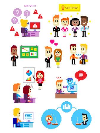 9 Cliparts over Office People: Computer Fout, Certified Professional Werknemers, Office Bulletin Board, Business Paar in Liefde, trillende hand, Business Training & Development Program, Vector Illustratie