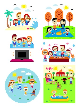 6 Cliparts of Happy Family Time:  Family at the Beach, Fun Family Picnic at the Park, Watching Family Favorite TV Shows Together, Playing Fun Family Card Games, Jogging Together in the Morning, and Fun Family Time at The Backyard House (in Vector Pixel Ar