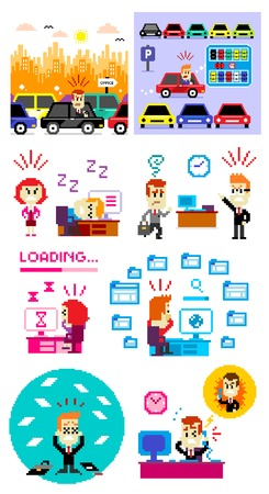 8 Cliparts of Bad Day to Work: Getting Stuck at Traffic Jam, Parking Lot is Full, Feeling Tired then Sleeping at Work, Coming Late to The Office,  Waiting for Loading Bar, Browsing Too Much Websites, Getting Fired, and Getting Yelled at By Boss (in Vector Illustration