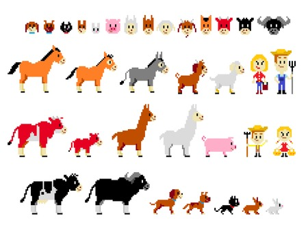 Cliparts of Farm Characters including a farmer family (a Farmer, his wIfe, a little boy and a little girl) and 17 animals (Horse, Mule, Donkey, Goat, Sheep, Ox, Calf, Llama, Alpaca, Pig, Cow, Buffalo, Great Dane Dog, German Shepherd Dog, Cat, Hare, and Ra