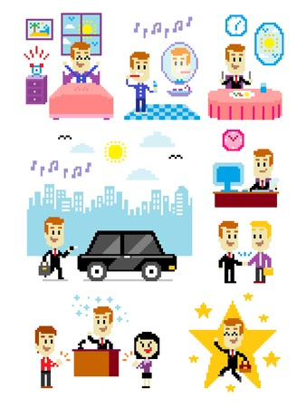 8 Cliparts of Good Day to Work: Waking Up Fresh and Happily, Humming Favorite Song while Toothbrushing, Having a Good Breakfast, Good Weather to Drive a Car, Working Fine at the Office, Making a Good Deal with Client,  Making a Good Inspirational Speech a