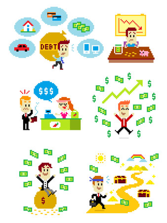 6 Cliparts about Man and Money:  Man feeling stressed brought along debt into his life; A Man Feeling Sad Got A Financial Problem in His Life; Man got nervous in front of cashier counter realized there's no cash money in his wallet/ his wallet is empty; A