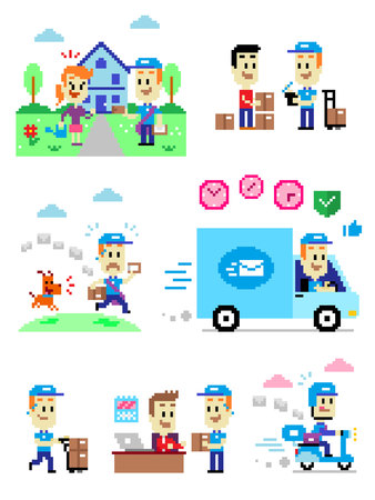 7 Cliparts about Postman/Mailman:  Postman Delivering A Letter to A Woman in Front of Her House;  Postman Asking for Signature to a Man after Delivering 3 Parcels to him; A Dog Chasing after a Mailman; Postman Driving Mail Van to Help Deliver Packages Saf Illustration