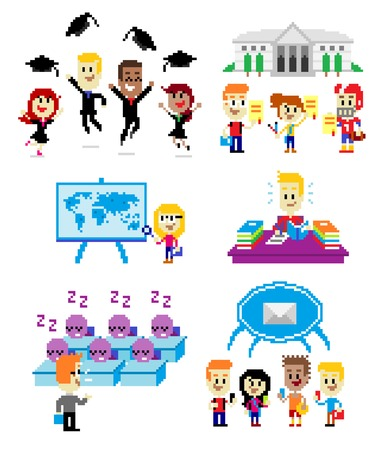 6 Cliparts about School:  Graduates Wearing Toga while  Jumping & Throwing Cap at The Graduation Day; Talented Students Holding Scholarship Certificates;  A Girl Studying a World Map; A Boy Doing His Homework; A Teacher Giving Boring Lecture Make The Stud