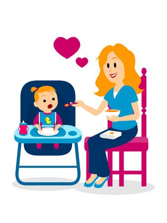 Mom Lovely Feeding Her Baby Girl Clipart Illustration