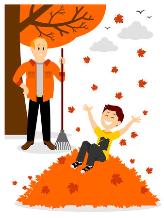 Boy Jumping in a Leaf Pile Clipart