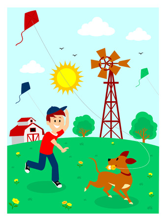 country flowers: Boy Playing Kite with His Dog Clipart