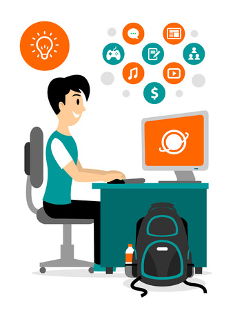 Teenage Boy Browsing Internet to Access Any Contents Clipart