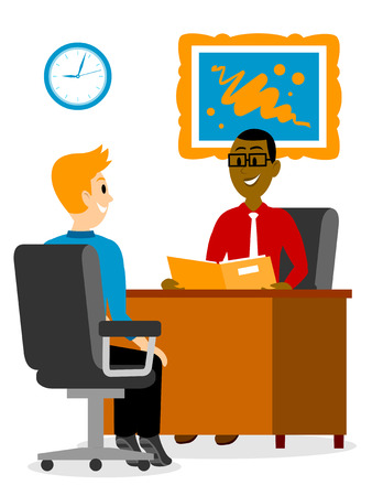 readiness: A Young Man Getting A Job Interview Clipart