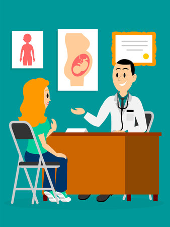 doctors and patient: Woman Surprised that She is Pregnant Clipart