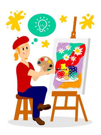 Artist Painting His Masterpiece Clipart Illustration