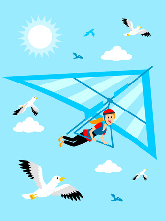 Girl Hang Gliding at the Blue Sky Clipart