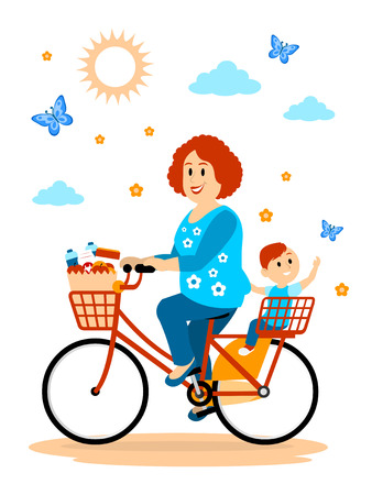 Hitching a ride to the Store with Mom Clipart Illustration