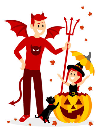 Playing Hide and Seek with Big Brother on Halloween Clipart